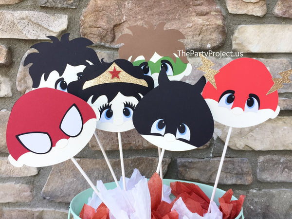 Superheroes faces centerpiece | Super hero birthday - baby shower - nursery decor.