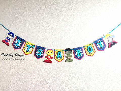"Vengeance heroes ""It's a boy"" banner 