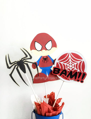 Spidey Hero Centerpiece | Comics book Superhero themed birthday party décor.
