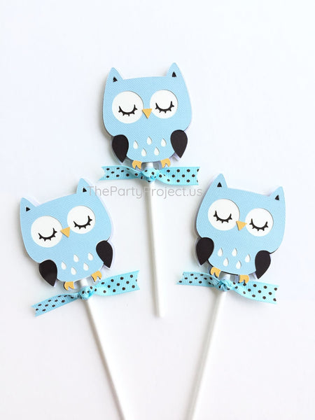 12 Owl Cupcake Toppers | Woodland creatures birthday party - Baby shower cupcake picks!