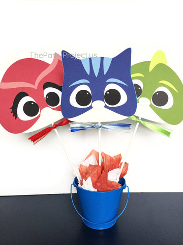 PJ Masks superhero faces centerpiece | PJMasks birthday party decorations.