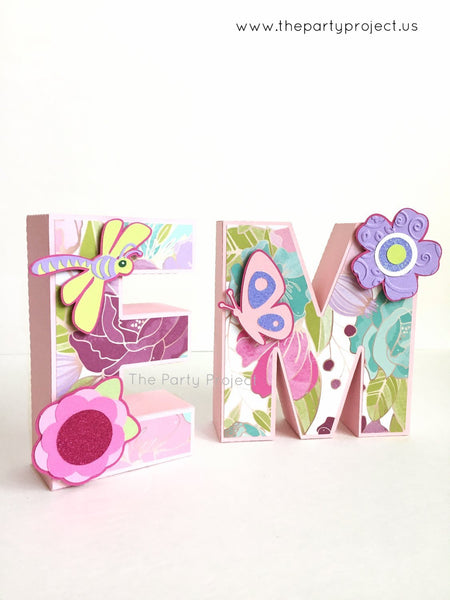 "Flowers and Butterflies 3D Letters 5.5""H 