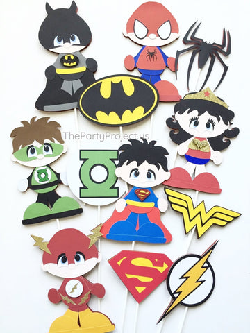Superheroes centerpiece | Justice League birthday - baby shower decor.