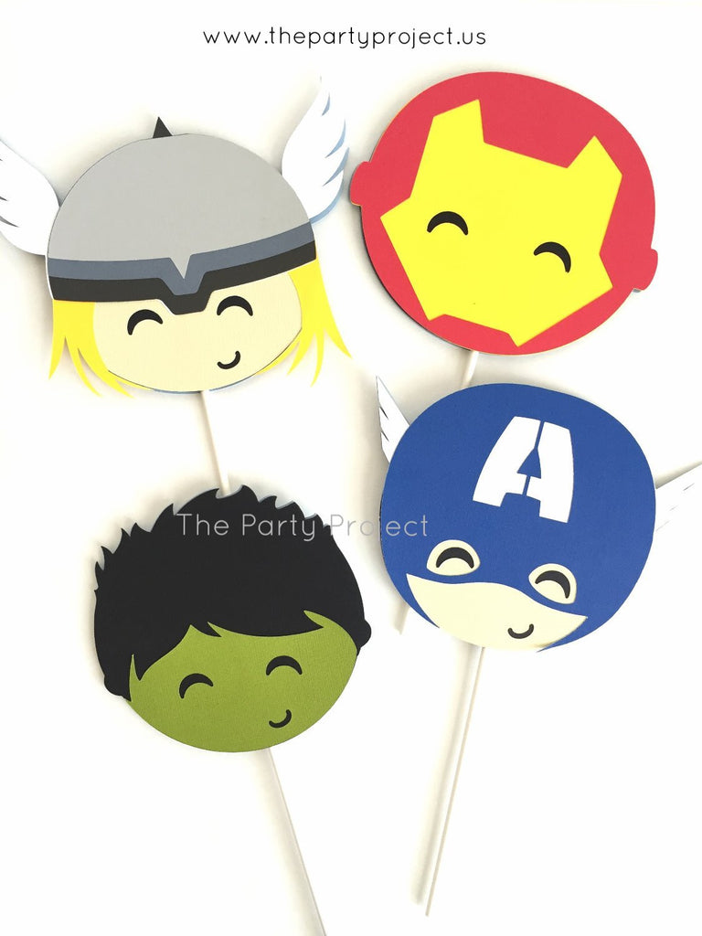 12 Avengers cupcake toppers | Superhero party cupcake picks.