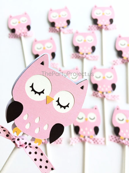 12 Girl Owl Cupcake Toppers | Woodland creatures birthday party - Baby shower cupcake picks!