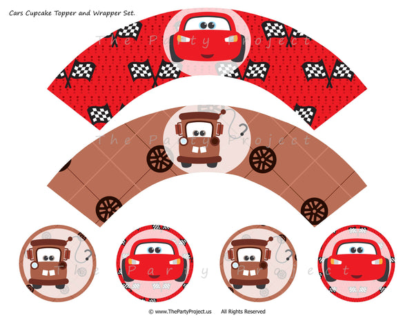 THE PARTY PROJECT | Lightning McQueen and Mater cupcake toppers and wrappers set! - Cars party printables //// Imprimibles para fiesta Cars