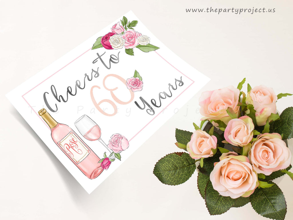 Diy Wall Decor For Birthday : Diy printable cheers to years wall art th birthday