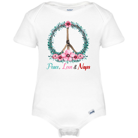 Peace, Love & Naps Baby Onesie®, Hippie Baby Clothes