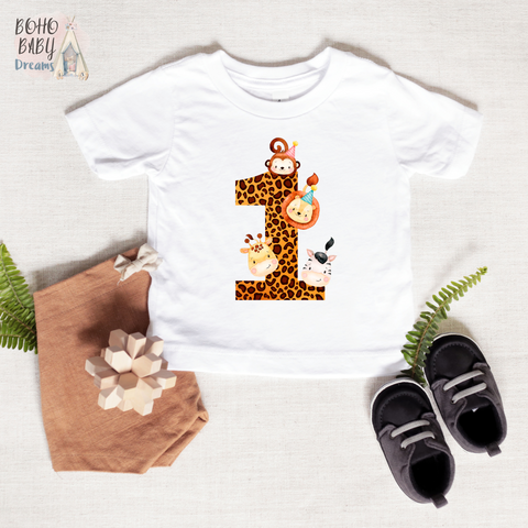One Leopard Birthday Shirt, Safari Baby Clothes