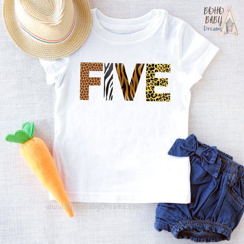 Five Animal Print Youth Shirt, Safari Kids Clothes