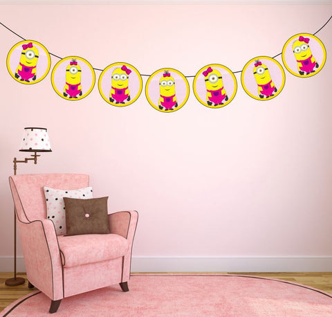 Girl minions garland | Despicable me party printables!