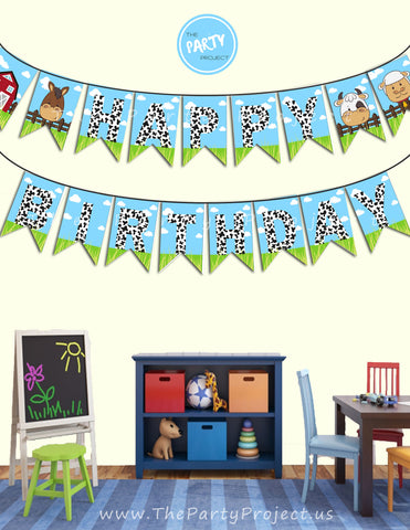 THE PARTY PROJECT | Farm happy birthday banner - Barnyard party banner!