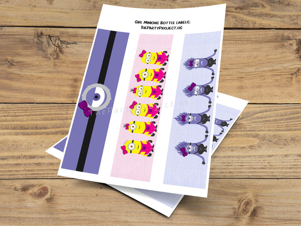 Girl minion and evil minion party printables