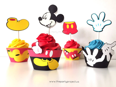 12 Mickey Mouse Cupcake toppers | Mickey cupcake picks.