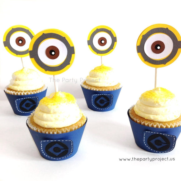 12 Minions pants Cupcake Wrappers | Despicable me party cupcake liners