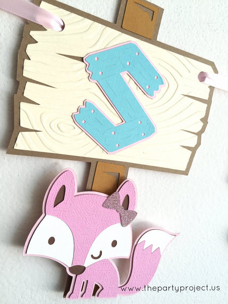 "Girl Woodland creatures ""Baby Shower"" banner 