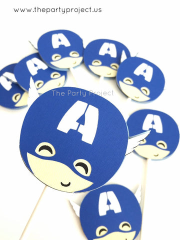 12 Captain America cupcake toppers | Avengers - Superhero cupcake picks.