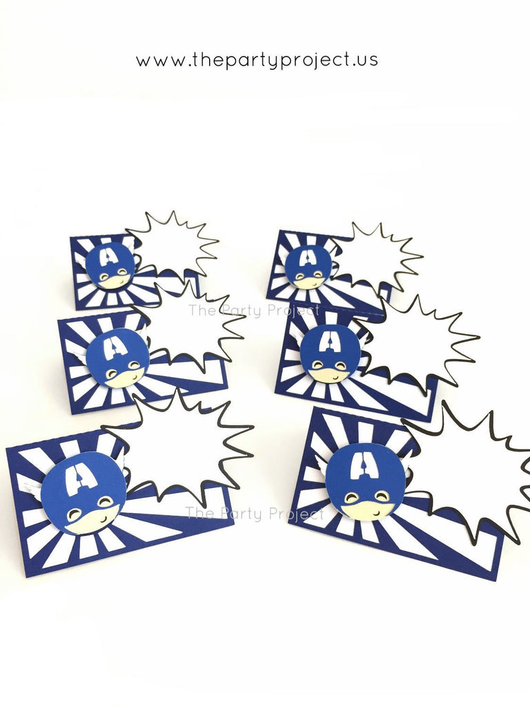 12 Captain America place cards | Avengers party - Superhero food tents.