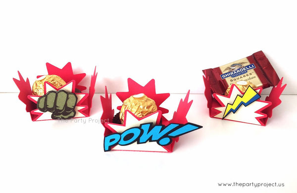 12 Avengers treat holders | Superhero party candy cups.