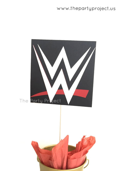 Wrestling Centerpiece | WWE themed birthday party decorations.