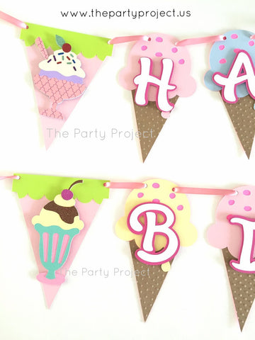 "Ice Cream ""Happy Birthday"" banner 