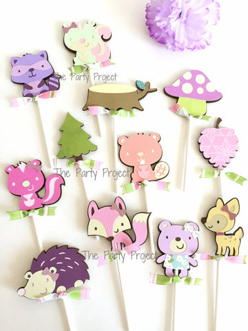 12 Girl Woodland Cupcake Toppers | Girly Forest animals cupcake picks!