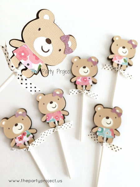 12 Bear Cupcake Toppers | Little bear - Woodland cupcake picks.