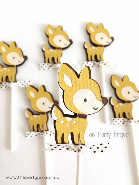12 Deer Cupcake Toppers | Hunting party | Forest animals - Woodland cupcake picks.