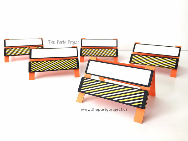 12 Construction place cards | barricades - Construction themed party food tents.