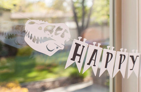"Dinosaur T-Rex fossil ""Happy Birthday"" banner 