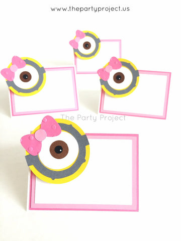 12 Girl Minion place cards | Pink Minions food tents.