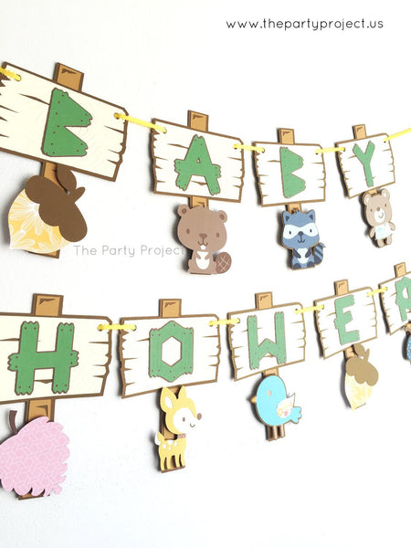 "Woodland creatures ""Baby Shower"" banner 
