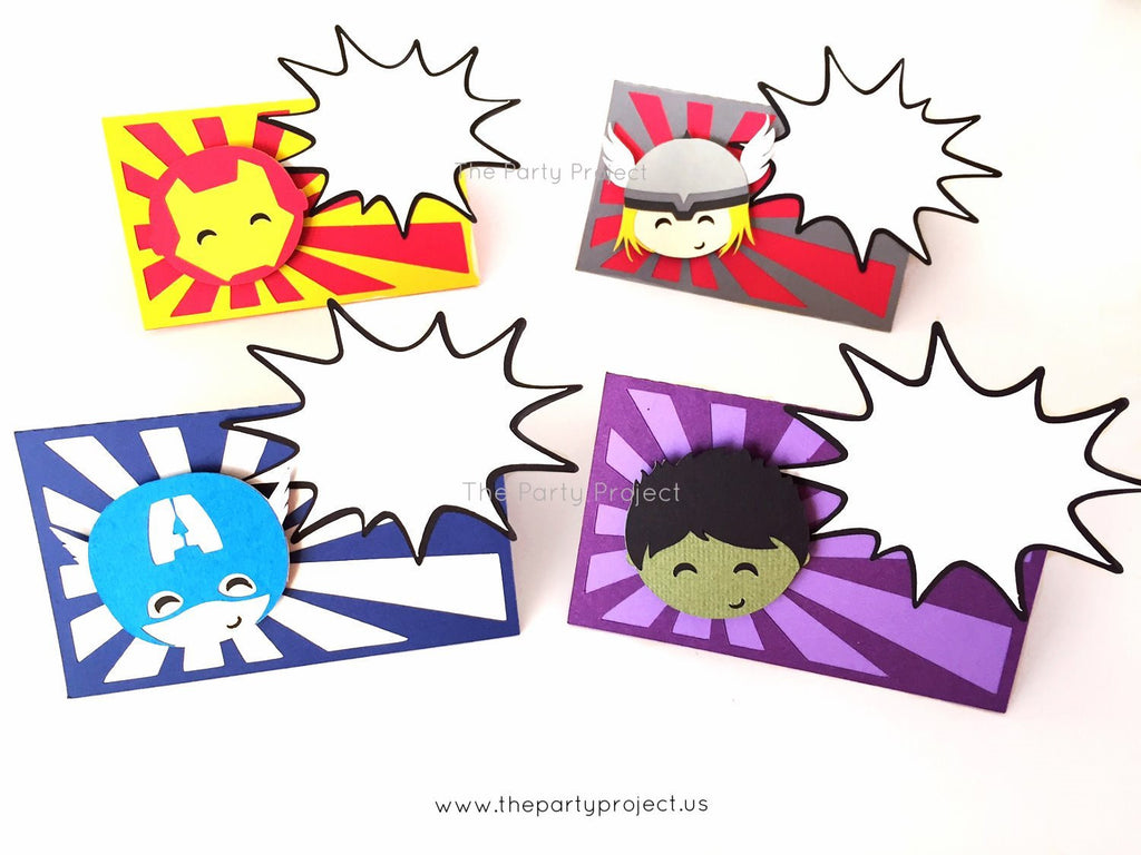 12 Avengers place cards | Superhero party food tents.