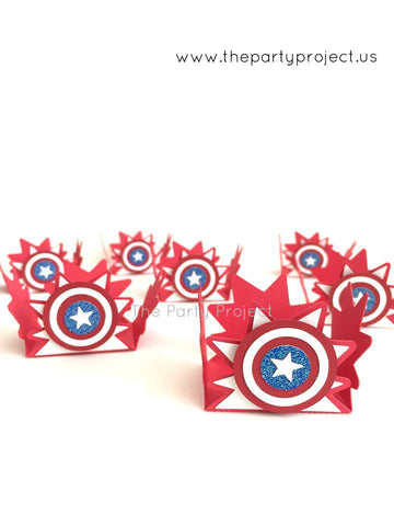 12 Captain American treat holders | Avengers candy cups.