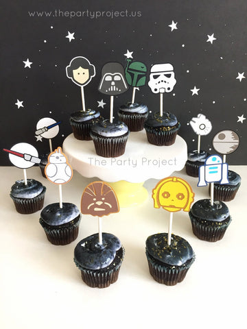 12 Star Wars cupcake toppers | Star Wars cupcake picks.