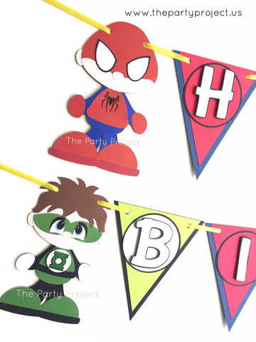 "Superheroes ""Happy Birthday"" banner 