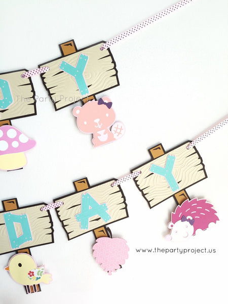 "Girl Woodland creatures ""Happy Birthday"" banner 