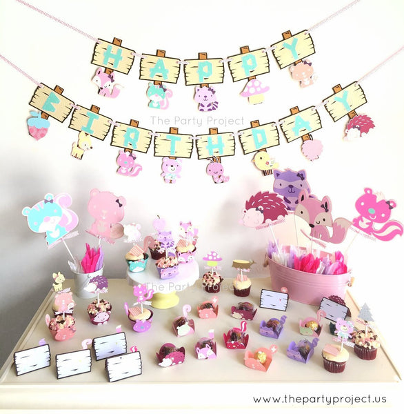 Girl Woodland centerpiece | Pink Forest creatures party | Woodland nursery decorations.