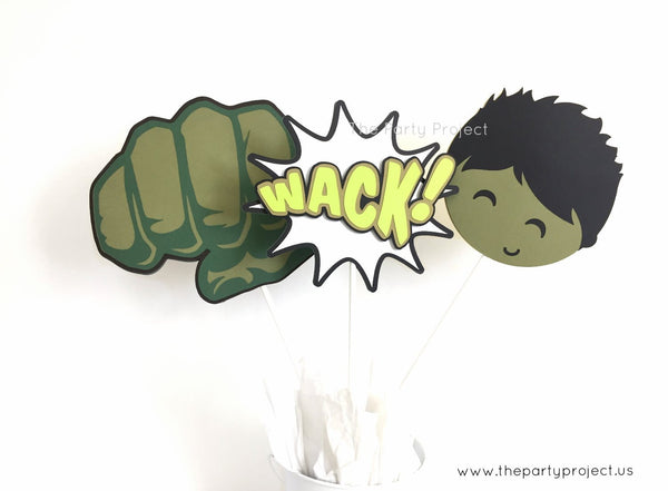 Hulk centerpiece | The Incredible Hulk Party | Avengers birthday décor.