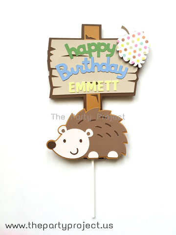 Hedgehog Cake Topper | Personalized Woodland creature - Forest themed birthday party decor.
