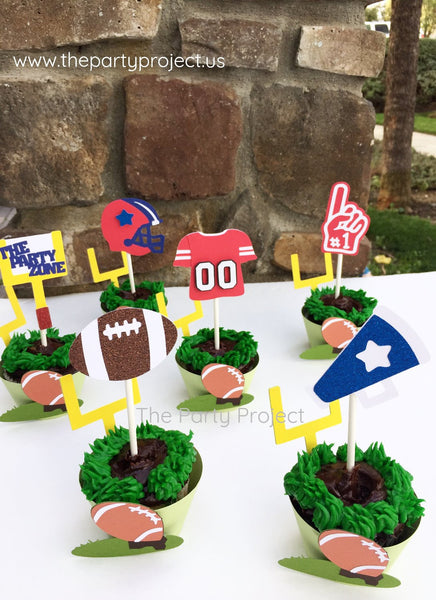 12 Football cupcake toppers | Super Bowl | NFL Themed party cupcake picks.