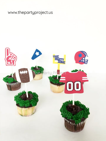 12 Football cupcake toppers | Super Bowl NFL theme party cupcake picks