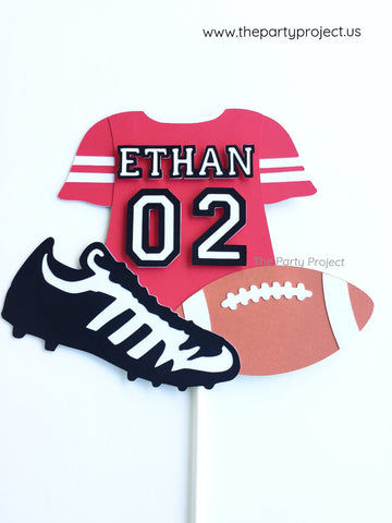 Football cake topper | NFL themed personalized party decorations.