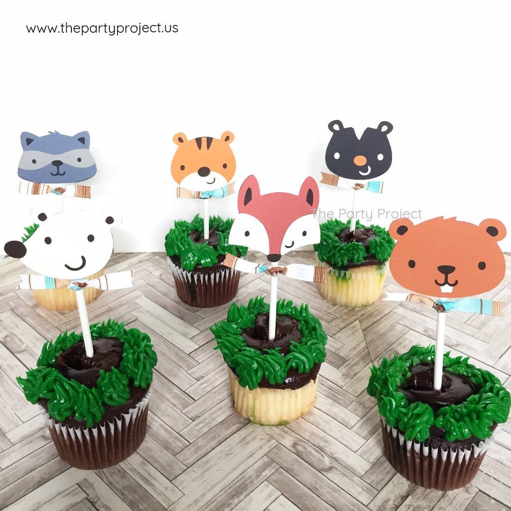 12 Woodland creatures Cupcake Toppers | Forest - Woodland critters themed party cupcake picks.