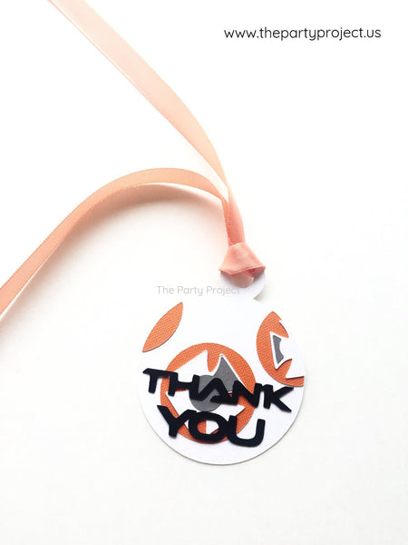 12 Droid Thank you tags | Gift tags | Galactic wars goody bag labels.