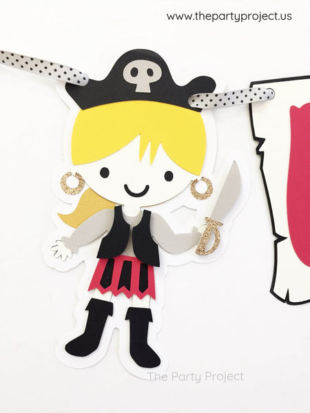 "Girl Pirate ""Happy Birthday"" Banner 