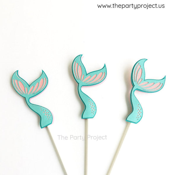 12 Mermaid cupcake toppers | Under the Sea themed party cupcake picks.