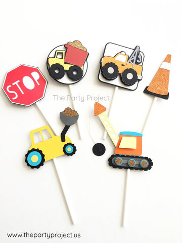 12 Construction cupcake toppers