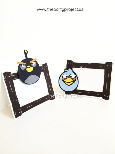 12 Angry Birds Place Cards | Angry Birds party food tents.