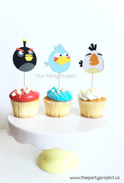 12 Angry birds cupcake toppers | Angry Birds cupcake picks.
